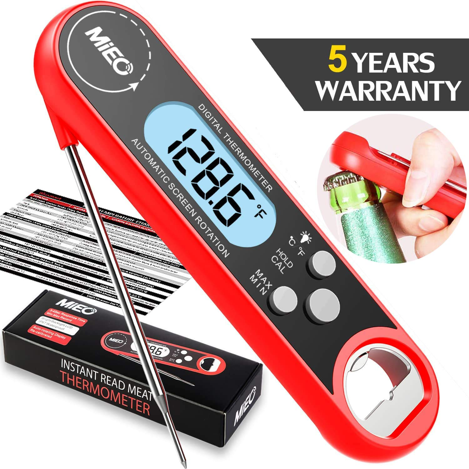 Digital Instant Read Meat Thermometer - MIEO Best Waterproof Ultra Fast Food Cooking Thermometer with Backlight&Cablibration,Digital BBQ Thermometer for Kitchen,Outdoor Cooking,Grill