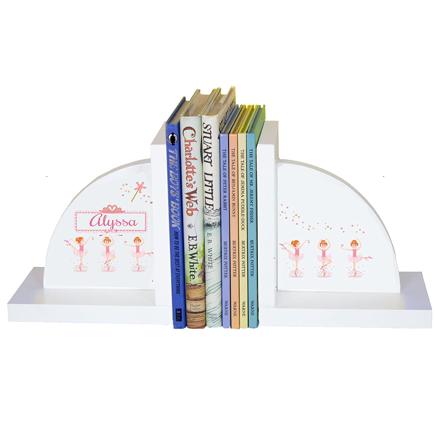 Personalized Ballerina Red Hair White Wooden Bookends MyBambino