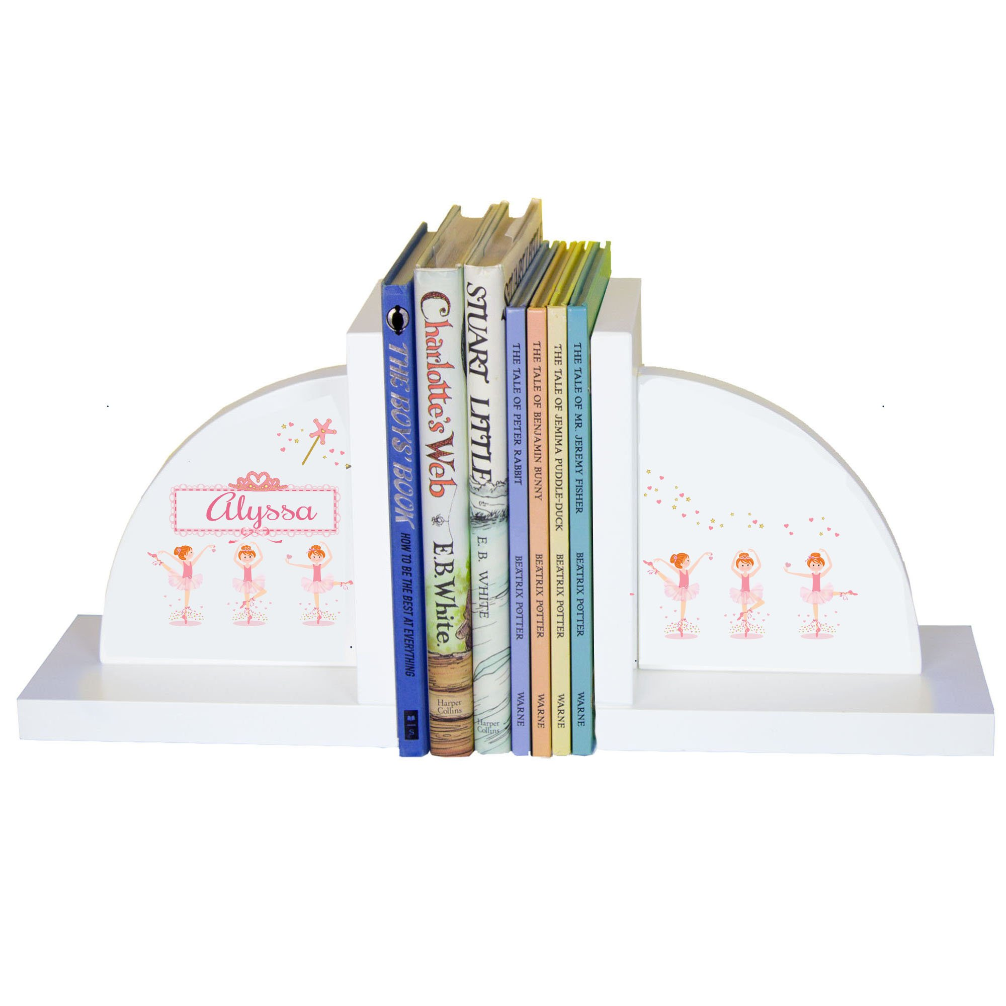 Personalized Ballerina Red Hair White Wooden Bookends