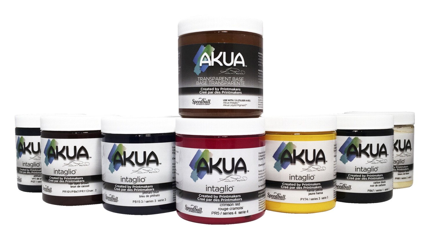 Akua Intaglio Inks, 8 Ounces, Assorted Colors, Set of 8