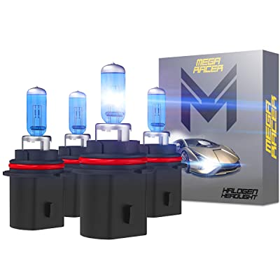 Mega Racer 4 Bulbs HB5 9007 Headlight Bulb High Performance OEM Halogen Headlights 2 x High Beam & 2 x Low Beam 12V 55W Super White 5000K 9007 Bulb Xenon Bulbs Headlight Bulbs 9007: Automotive