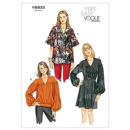 Vogue Patterns V8832 - Patrones de costura para blusas y túnicas con cinturón de mujer (