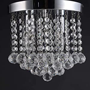 Mini Chandelier, Crystal Chandelier Lighting, Flush Mount Ceiling Light, H9. 84'' x W9.84, Modern Chandelier Lighting Fixture for Bedroom, Hallway, Bathroom, Kitchen, Bar, 2 Light