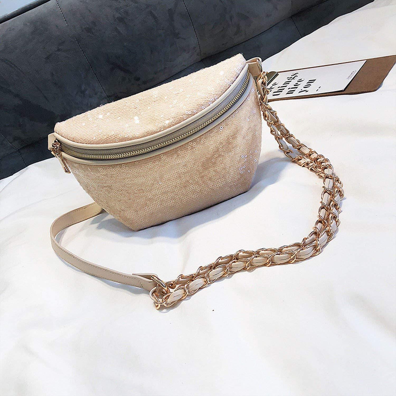 Trendy Sequin Waist Bags Female Chain Belt Pack For Women Mini Shoulder Bags PU Leather Simple Belt Bags,1