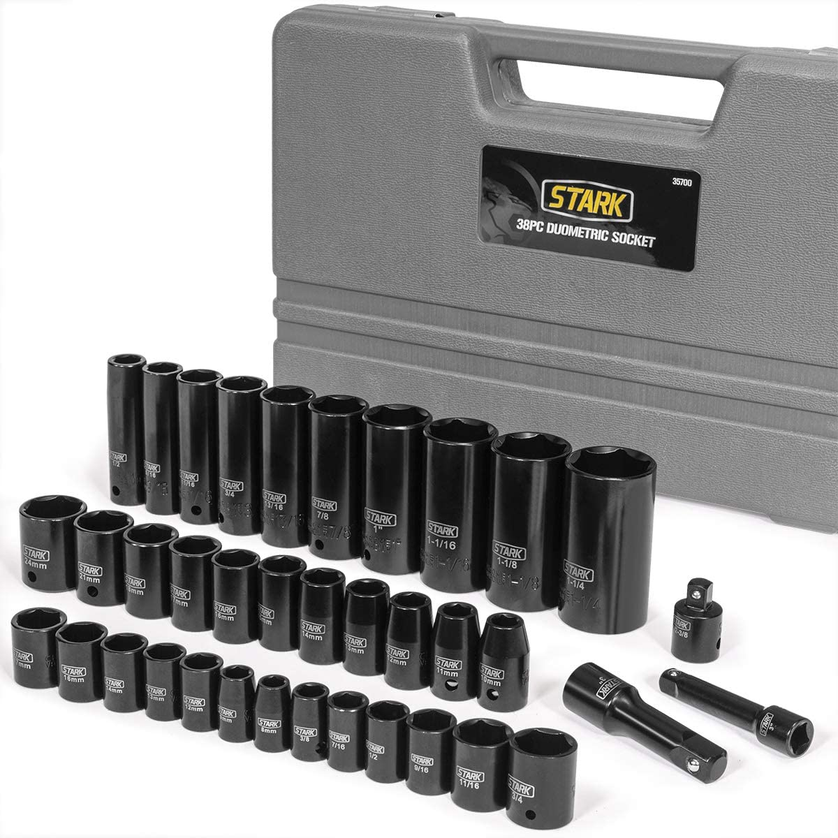 "Stark 38PC Impact Socket Set SAE and Metric Deep Shallow 3/8"" & 1/2"" Drive Extension Bar 6-Point Socket with Carrying Storage Case"