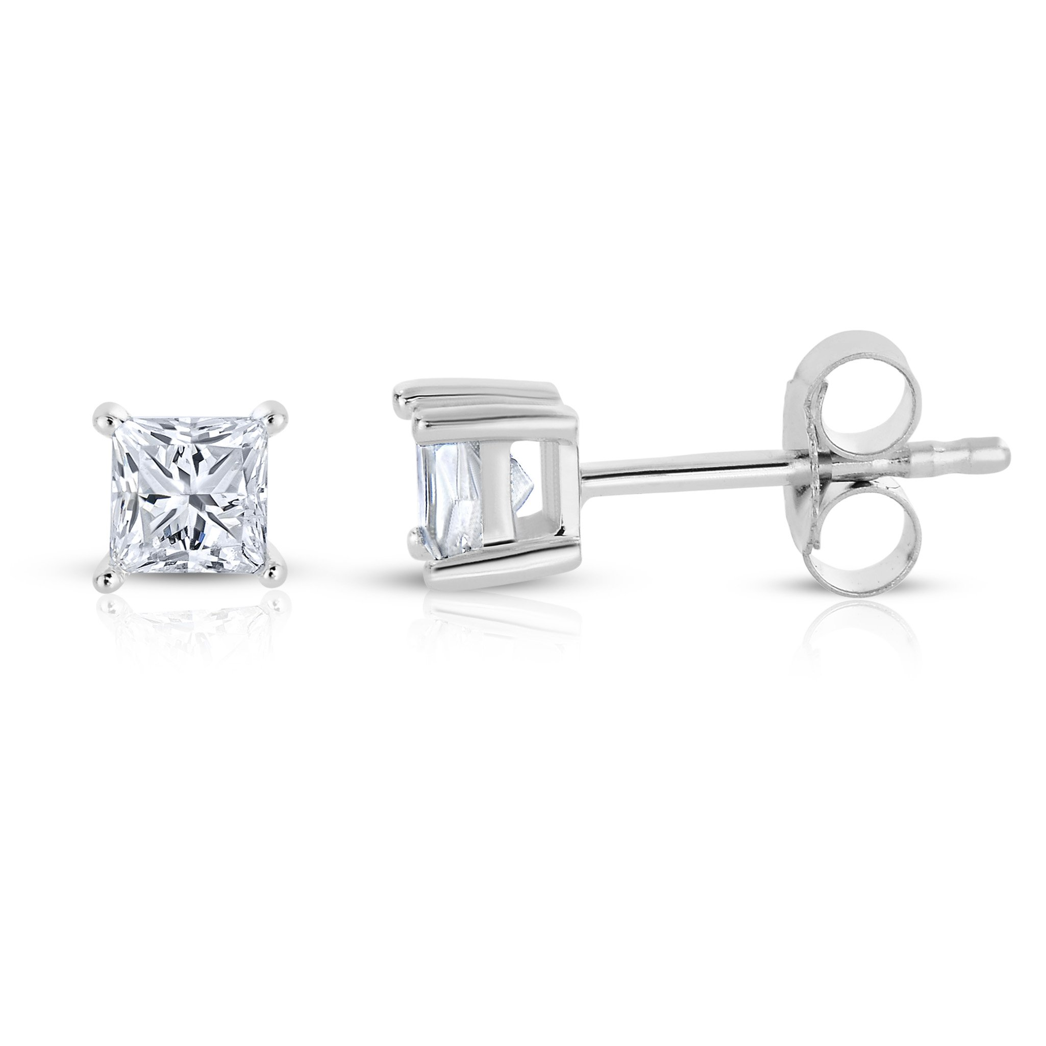 14k White Gold Princess-Cut Diamond Solitaire Stud Earrings (1/4cttw, H-I Color, I2-I3 Clarity)