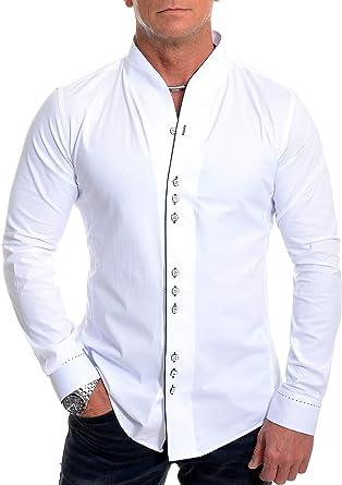 D&R Fashion Hombres la Moda con los puños Doble Banda Abuelo del Collar y la tubería Contraste: Amazon.es: Ropa y accesorios
