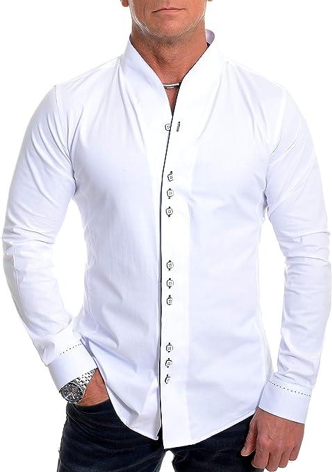 D&R Fashion Hombres la Moda con los puños Doble Banda Abuelo del Collar y la tubería Contraste