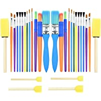 30PCS Colorful Kids Paint Brush Set, Childrens Paint Brushes Starter kit for Watercolor, Oil, Acrylic, Paints…