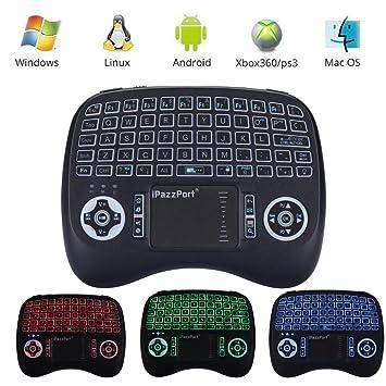 iPazzPort Mini Retroiluminado Teclado Inalámbrico con Touchpad 2.4GHz Mini Keyboard Teclado Ergonómico con Ratón Touchpad para Teclado Android tv, ...