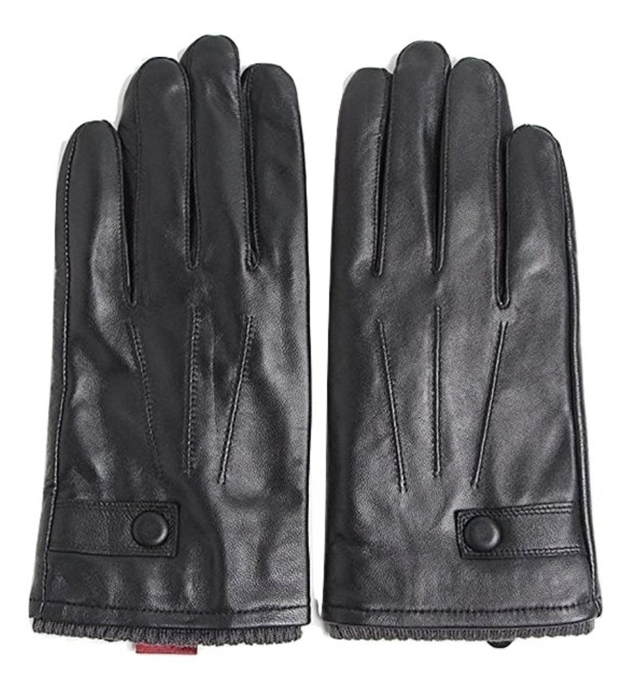 Men's Lambskin Leather Gloves with Fur Lining, Casual & Business Gloves, Black