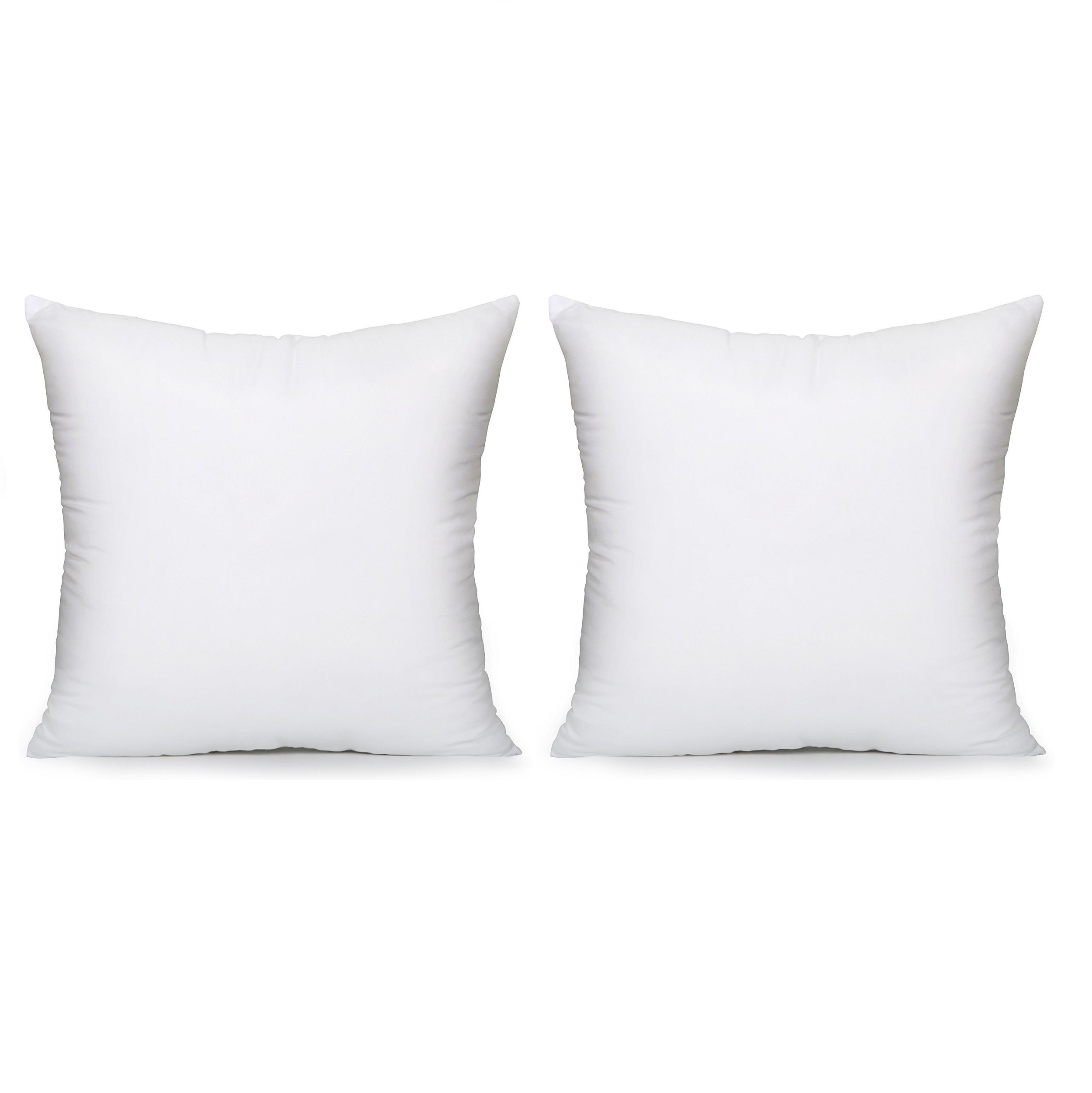 Acanva Hypoallergenic Pillow Insert Form Cushion Euro Sham, Square, 20'' L x 20'' W, Set of 2