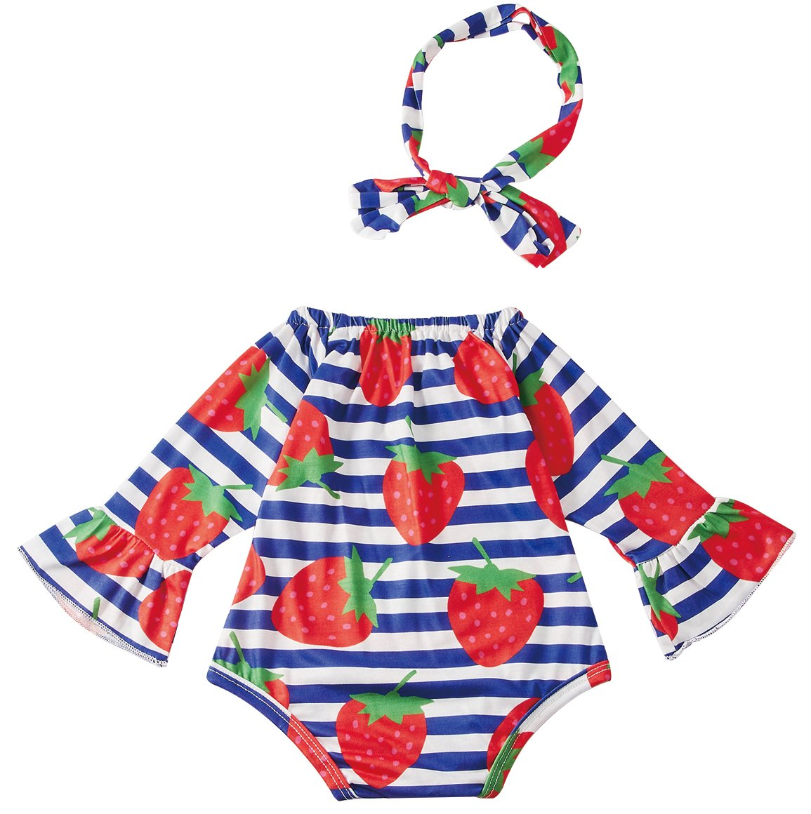 Leapparel Vintage Jumpsuit Long Sleeve Boy Summer Outfit Baby Girl Whlte and Blue Stripe Dress Button Tops, Strawberry, 6-12 Months/Size 80