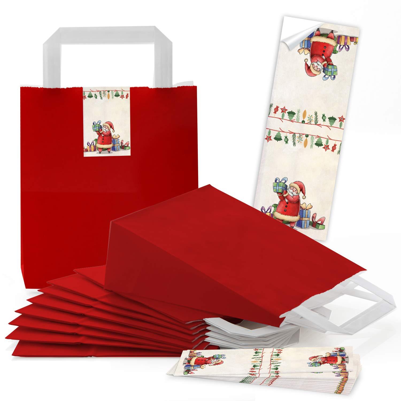 100 rote natur Kraftpapier Papiertüte Geschenktasche Geschenktasche Geschenktasche Henkel mit Boden 18 x 8 x 22 cm  100 Aufkleber SANTA NIKOLAUS WEIHNACHTSMANN rot grün beige Geschenk Verpackung Weihnachten weihnachtlich B07GVF2TNX | Meistverkaufte weltweit  15c24b