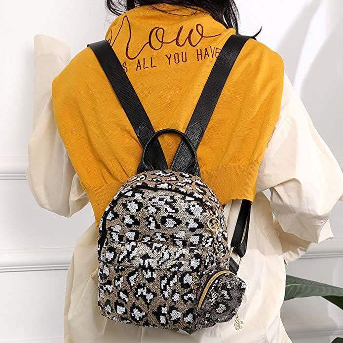 9bfff400033e Amazon.com: Backpack JIUDAS Women Girl Sequin Leopard Print School ...