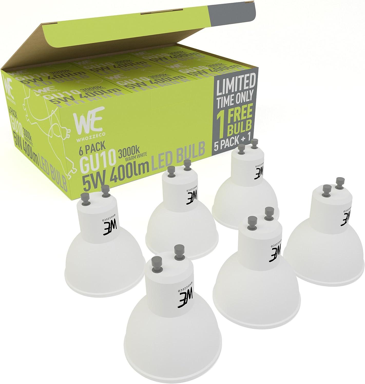 Bombillas Led Gu10 5W 6-Pack Envá O Gratuito Blanco Cálido Garantá A de Devolución 3000K 400 Lumen Equivalente a 50W Focos Halógenos, Reemplazo Inmediato: Amazon.es: Hogar