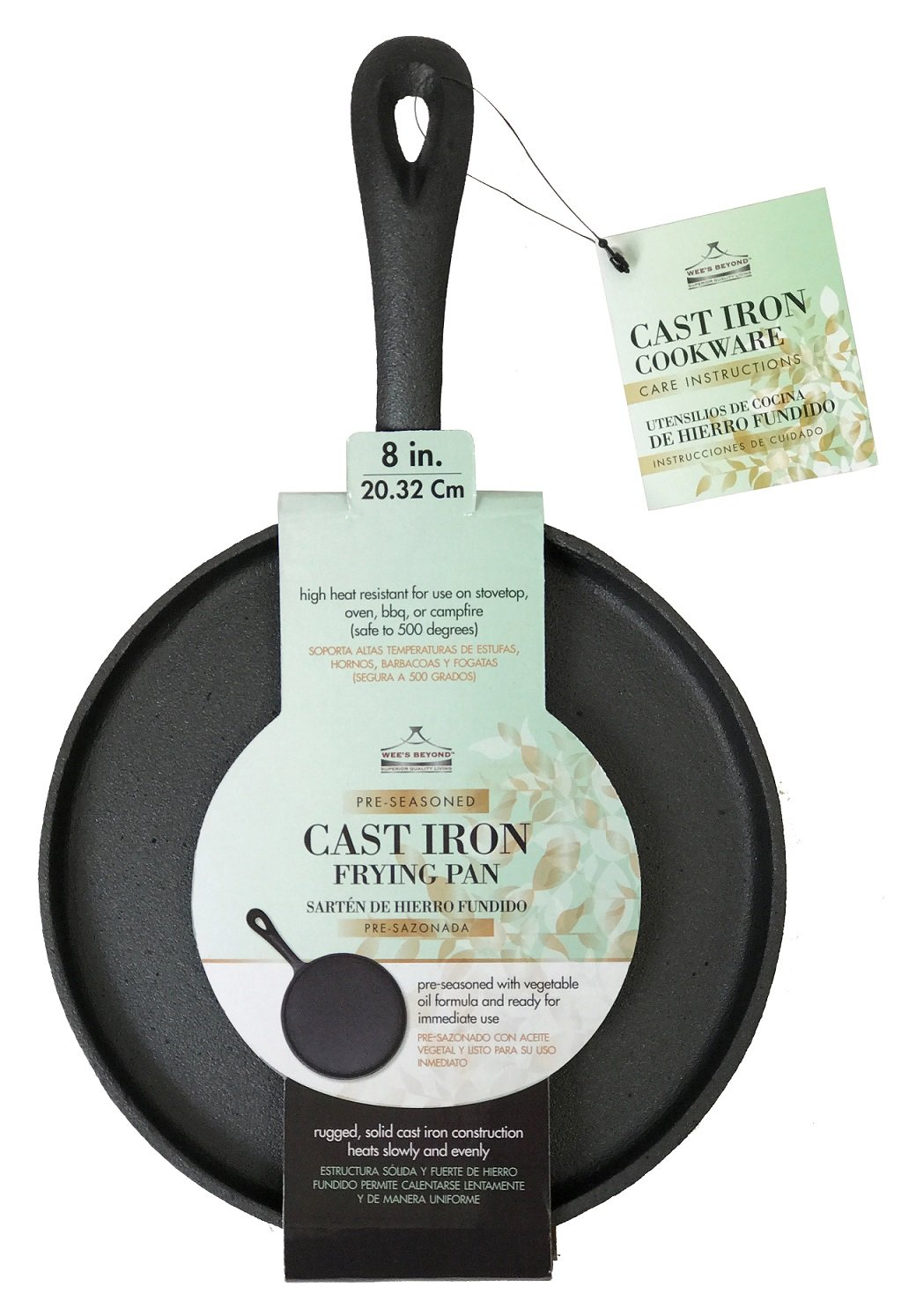 Amazon.com: Wees Beyond 5300-BF Round Pre-Seasoned Cast Iron Frying Pan, Black: Kitchen & Dining