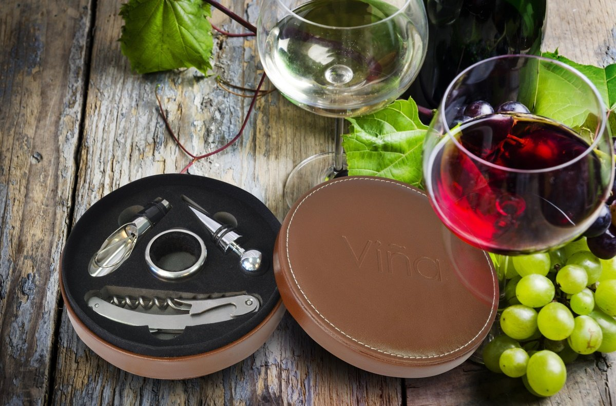 Vina Wine Opener Gift Set, 4 Pieces Wine Bottle Accessory Kit Includes: Stainless Steel Wine Corkscrew, Drop Ring, Wine Pourer, Wine Stopper, Arranged In a Elegant Box, Brown