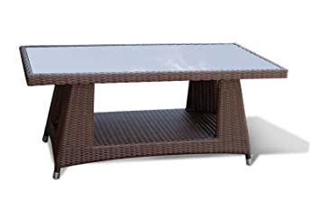 Jati All weather Wicker Rattan Coffee Table with Glass Top in Java