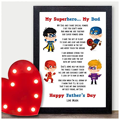My Superhero Dad PERSONALISED Presents Gifts For Daddy From Son Baby