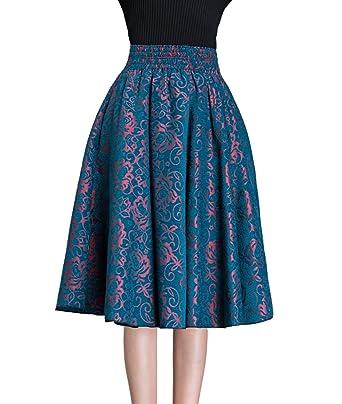 fad446983c Femirah Women's Blue Wool Blend Midi Skirt Winter Swing Skirt (Waist:  60cm-65cm