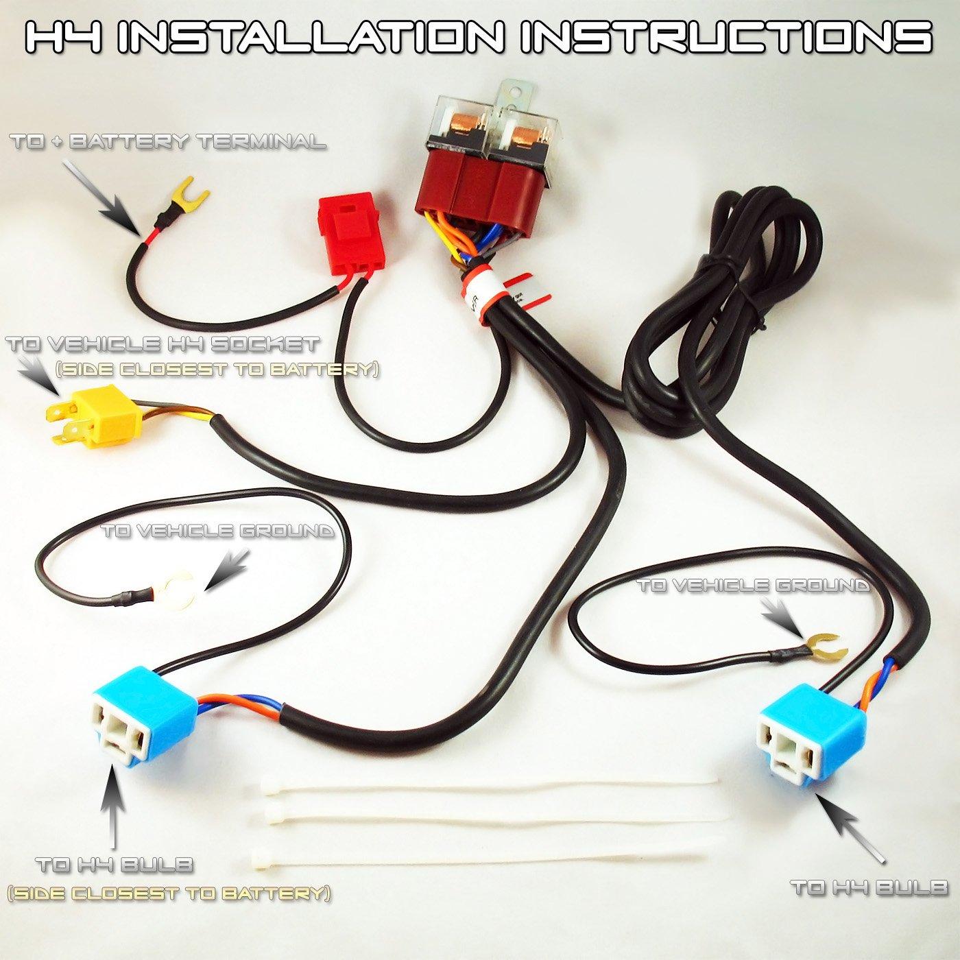 Autotechsalon Premium Slimline H4 9003 Hb2 100w Pnp Wiring Ceramic Relay Harness Bulb Headlight Foglight Booster 12v Automotive