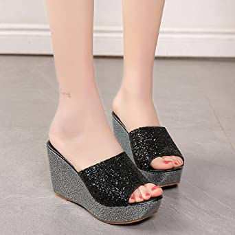 970a61c5916 Amazon.com  Sunfei Women Slippers Sexy Open Toe Shoes Wedge Slip High Heel  Slippers Flip Flop  Clothing