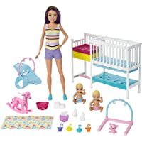 Barbie Nursery Playset with Skipper Babysitters Doll, 2 Baby Dolls, Crib and 10+ Pieces of Working Baby Gear and Themed…