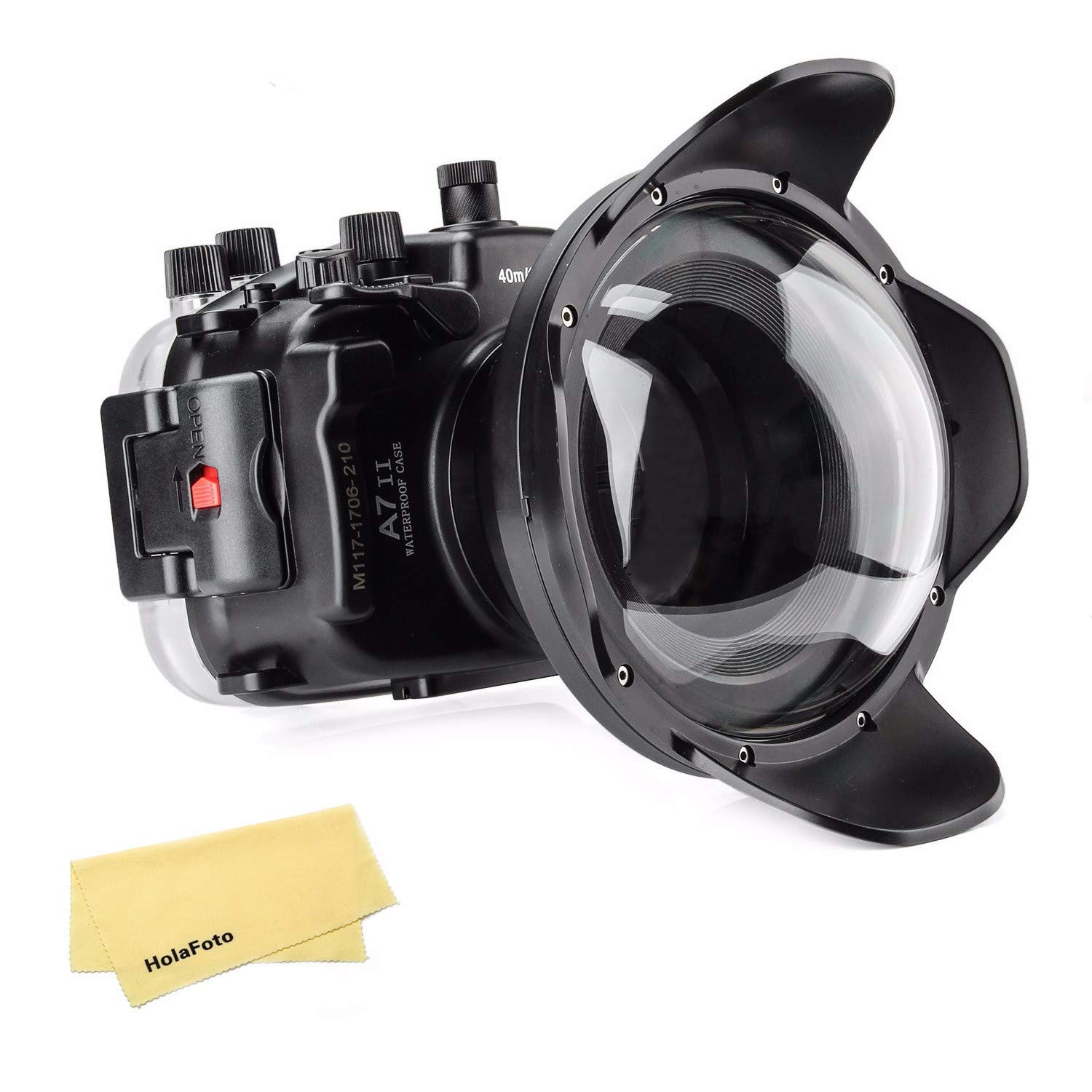 Meikon Underwater Camera Housing Case w/Dome Port Kit, 40M/130FT Waterproof Housing for Sony A7 II A7R II A7S II 28-70mm Lens by MEIKON
