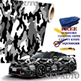"""Sky Auto INC Black White Gray Camouflage Vinyl Car Wrap Film Sheet + Free Cutter, Cleaning Cloth, Scissors & Squeegee (15FT x 5FT/180"""" x 60"""")"""