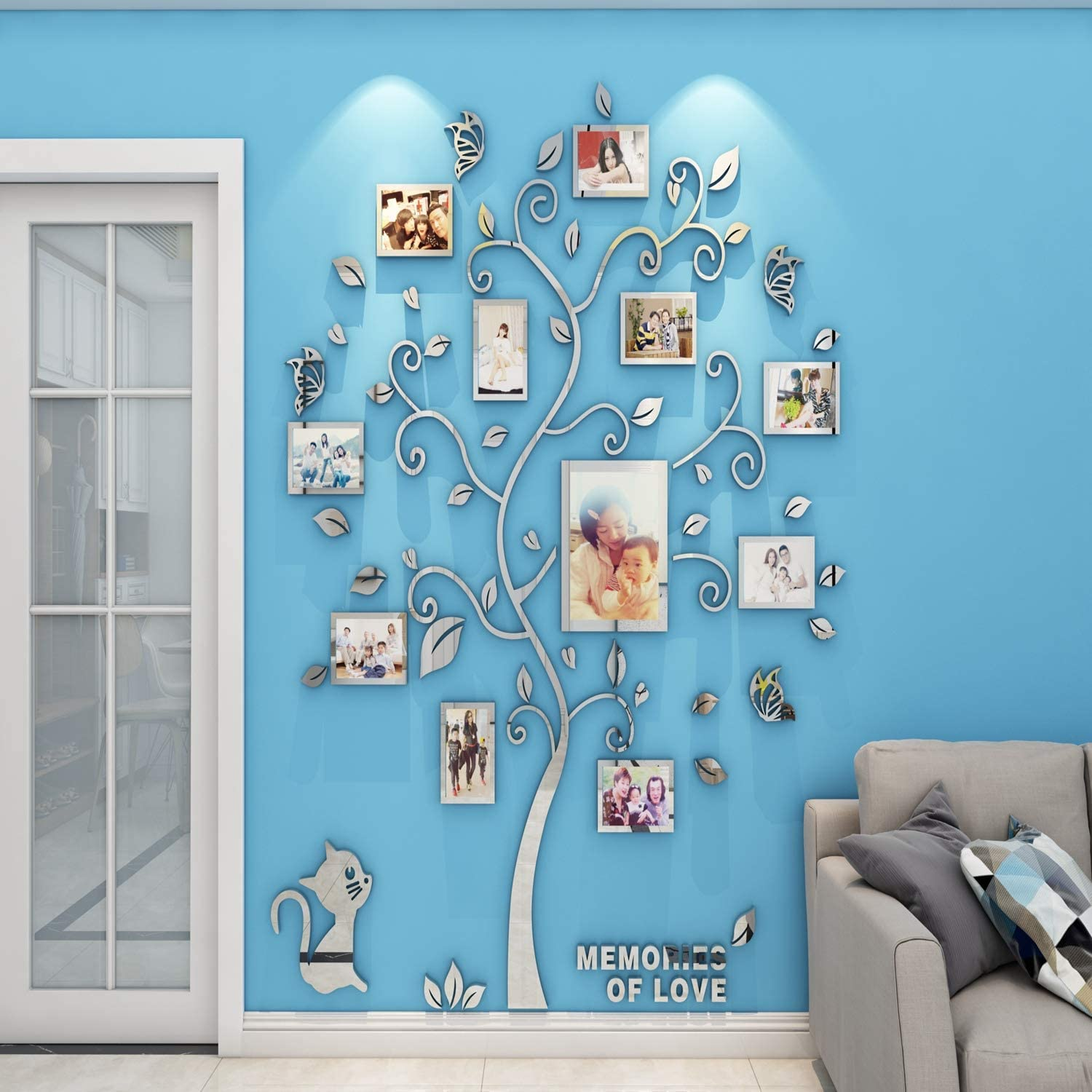 Unitendo 3D Acrylic Black Tree Wall Stickers Photo Frames Family Tree Wall Decal Easy to Install &Apply DIY Photo Gallery Frame Decor Sticker Home Art Decor (Silver, Large).…