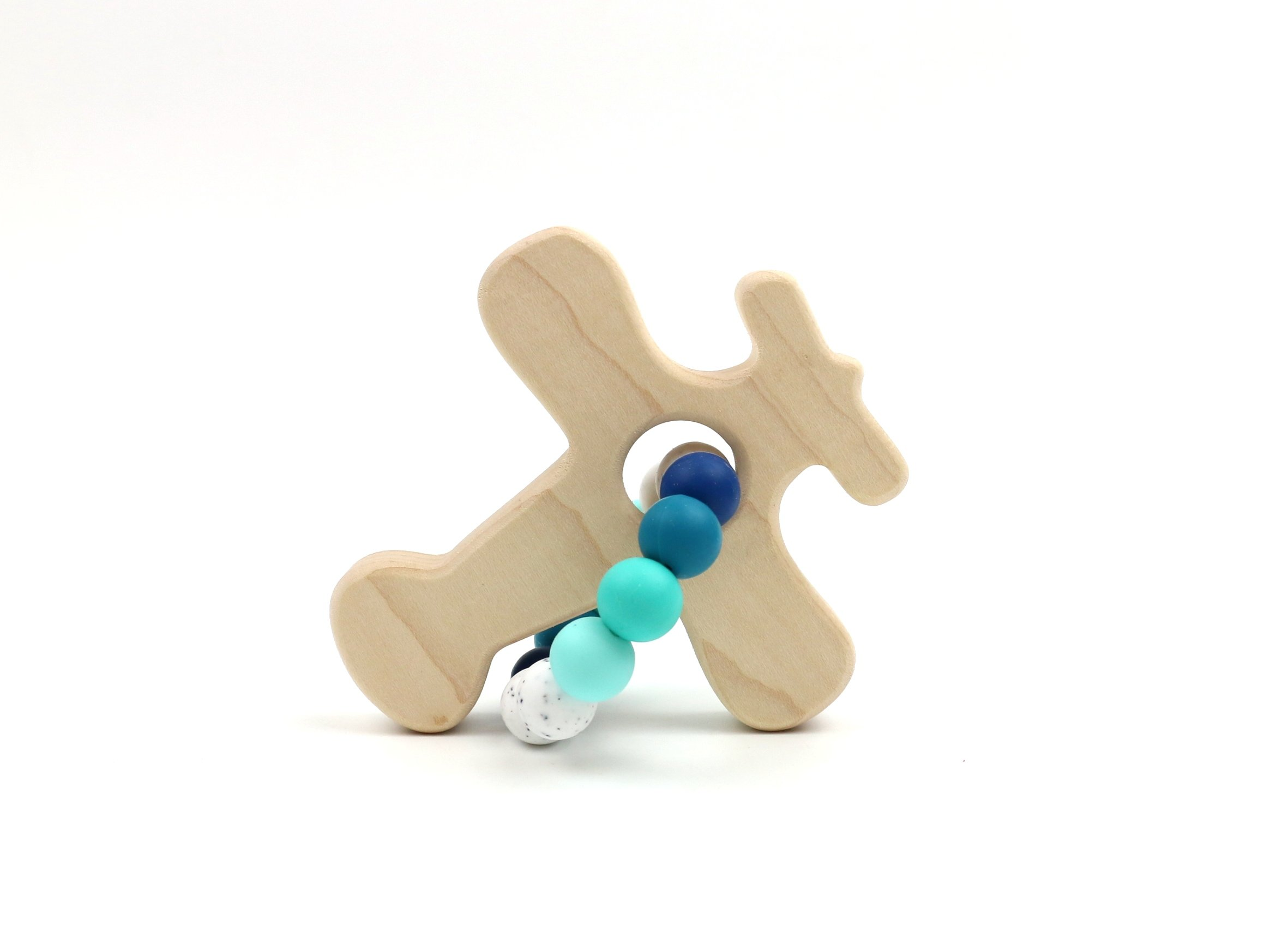 Airplane Wooden Teether w/Sky Beads