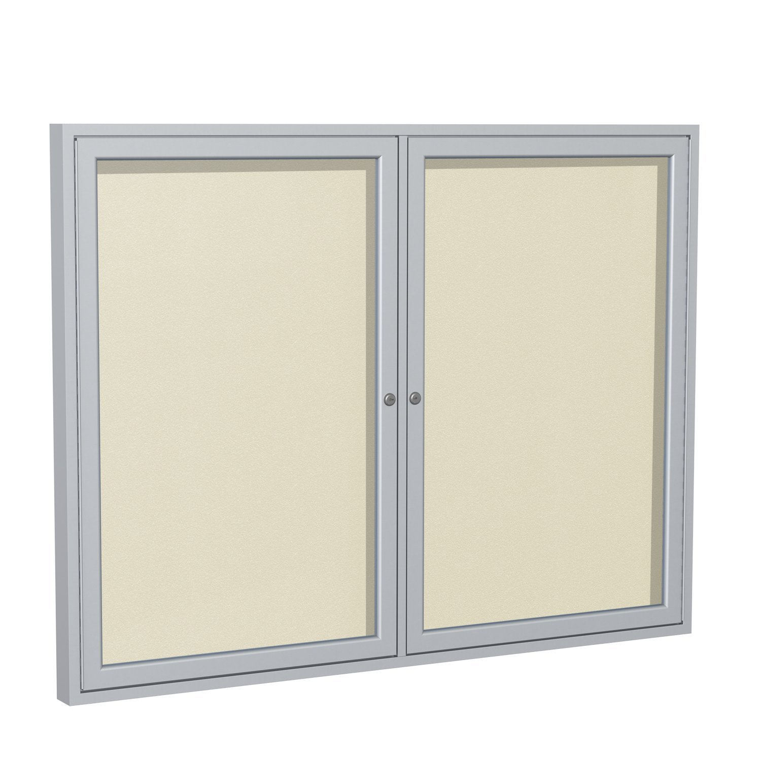 Ghent 36''x48''  2-Door Outdoor Enclosed Vinyl Bulletin Board, Shatter Resistant, with Lock, Satin Aluminum Frame - Ivory (PA23648VX-185 ), Made in the USA by Ghent