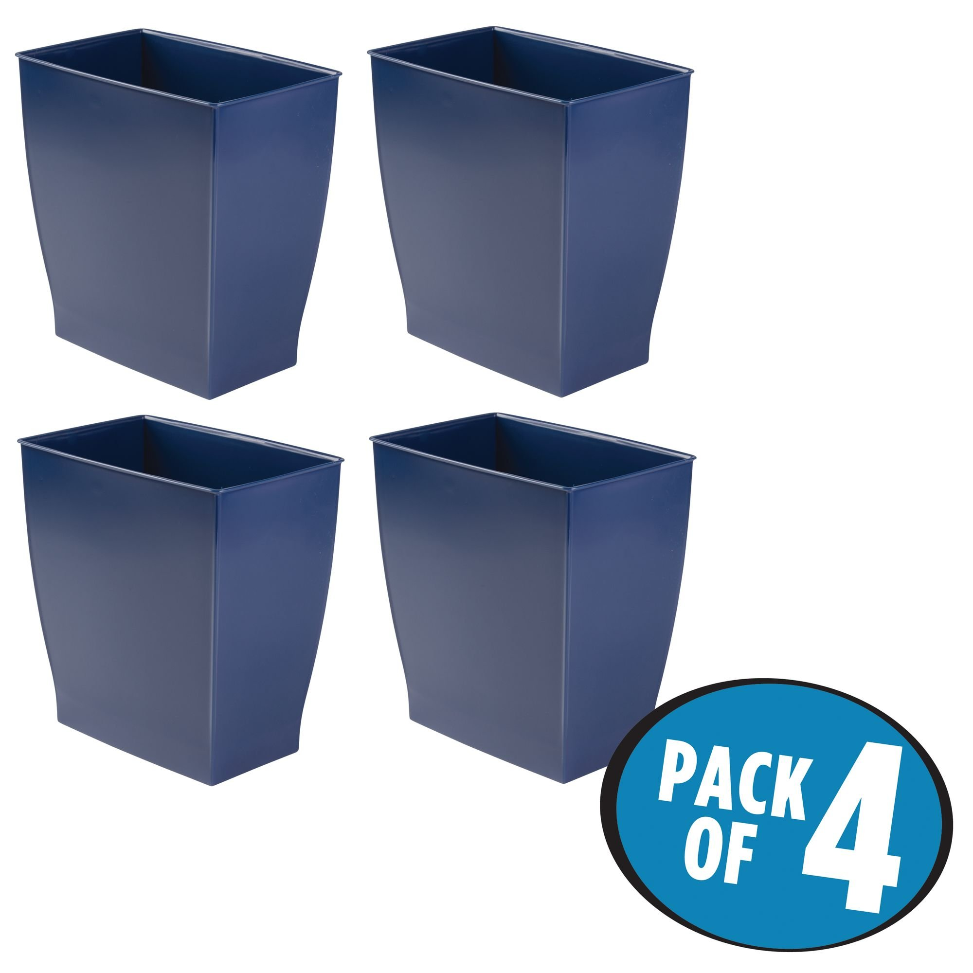 mDesign Rectangular Trash Can Wastebasket, Small Garbage Container Bin for Bathrooms, Powder Rooms, Kitchens, Home Offices - Pack of 4, Shatter-Resistant Plastic, Navy Blue