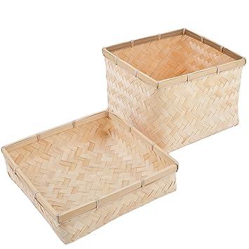 Korb Mit Deckel Box Bambus Design Natur Asia Dekoration Schale