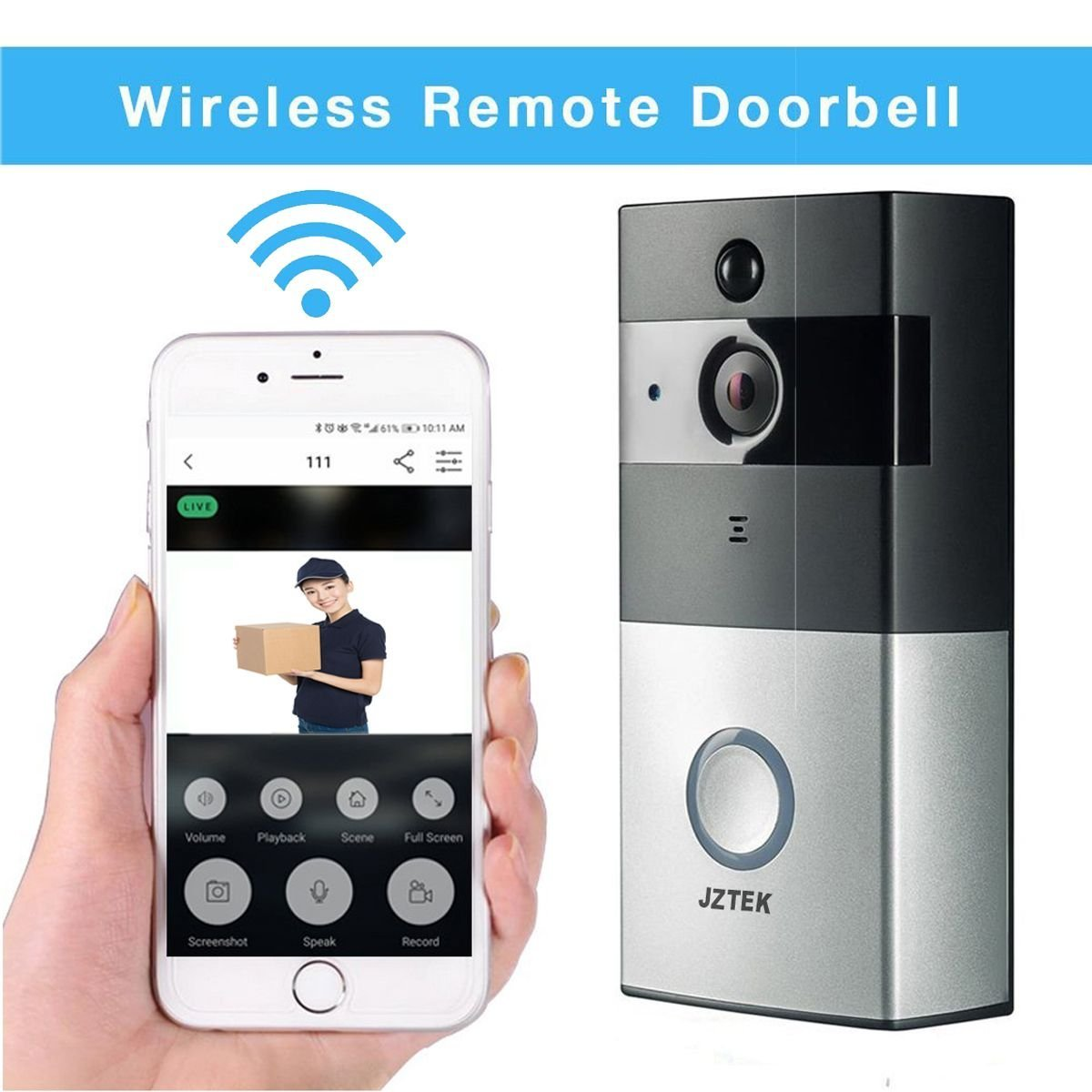 Video Doorbell - JZTEKSmart Doorbell 720P HD WiFi Security Camera with 8G Memory Storage, Real-Time Two-Way Talk and Video, Night Vision, PIR Motion Detection and App Control for iOS and Android
