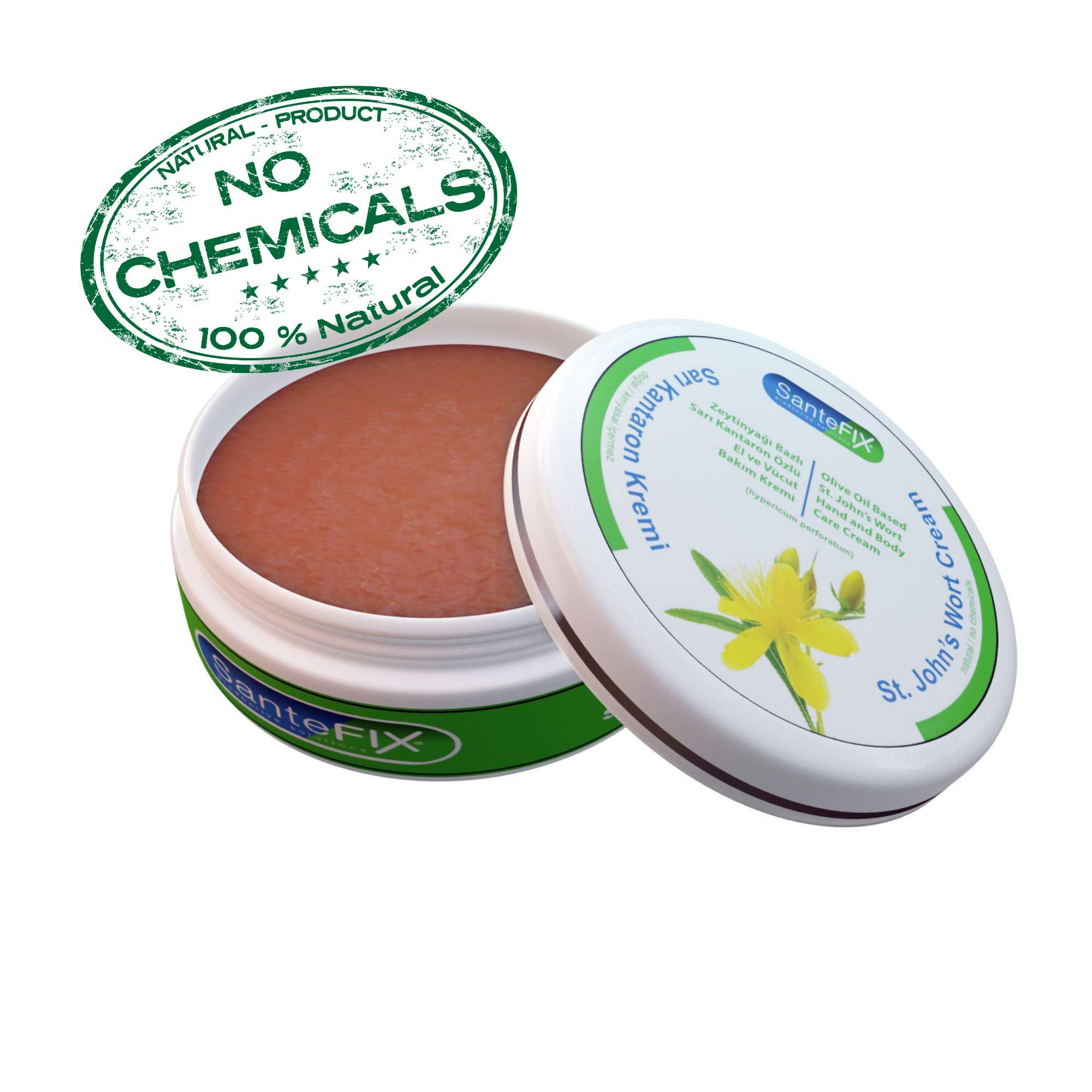 SanteFIX St John's Wort -No Chemicals- Skin Cream with Olive Oil for Acne & Hemorrhoid & Scar Removal & Wound Care & Stretch Mark & Bed Sore by Fixx