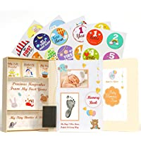 Pearly Tale Baby Memory Book Kit – 73 Page Baby Journal with Baby Album Pages, Keepsake Box, Handprint Kit and Baby…
