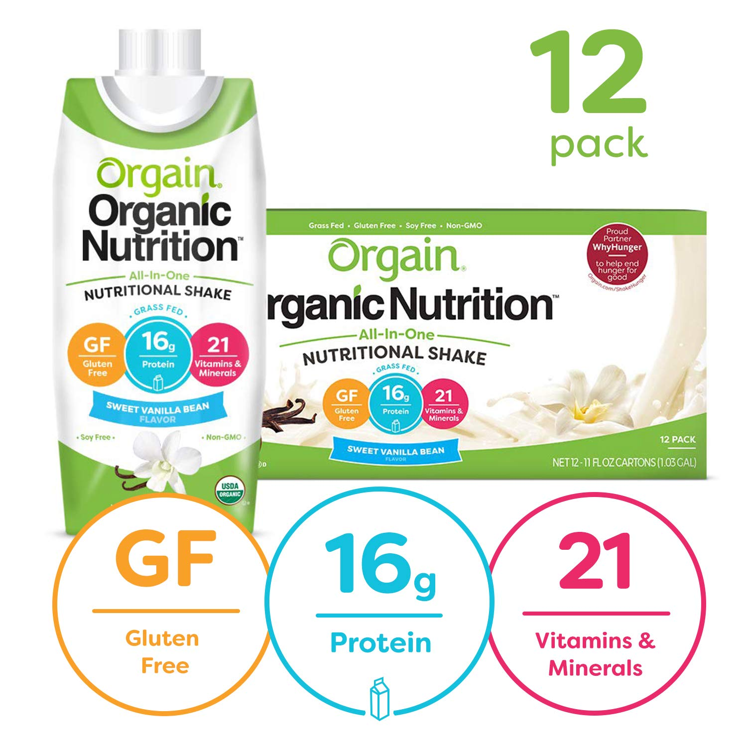 Orgain Organic Nutritional Shake, Sweet Vanilla Bean - Meal Replacement, 16g Protein, 21 Vitamins & Minerals, Gluten Free, Soy Free, Kosher, Non-GMO, 11 Ounce, 12 Count (Packaging May Vary)