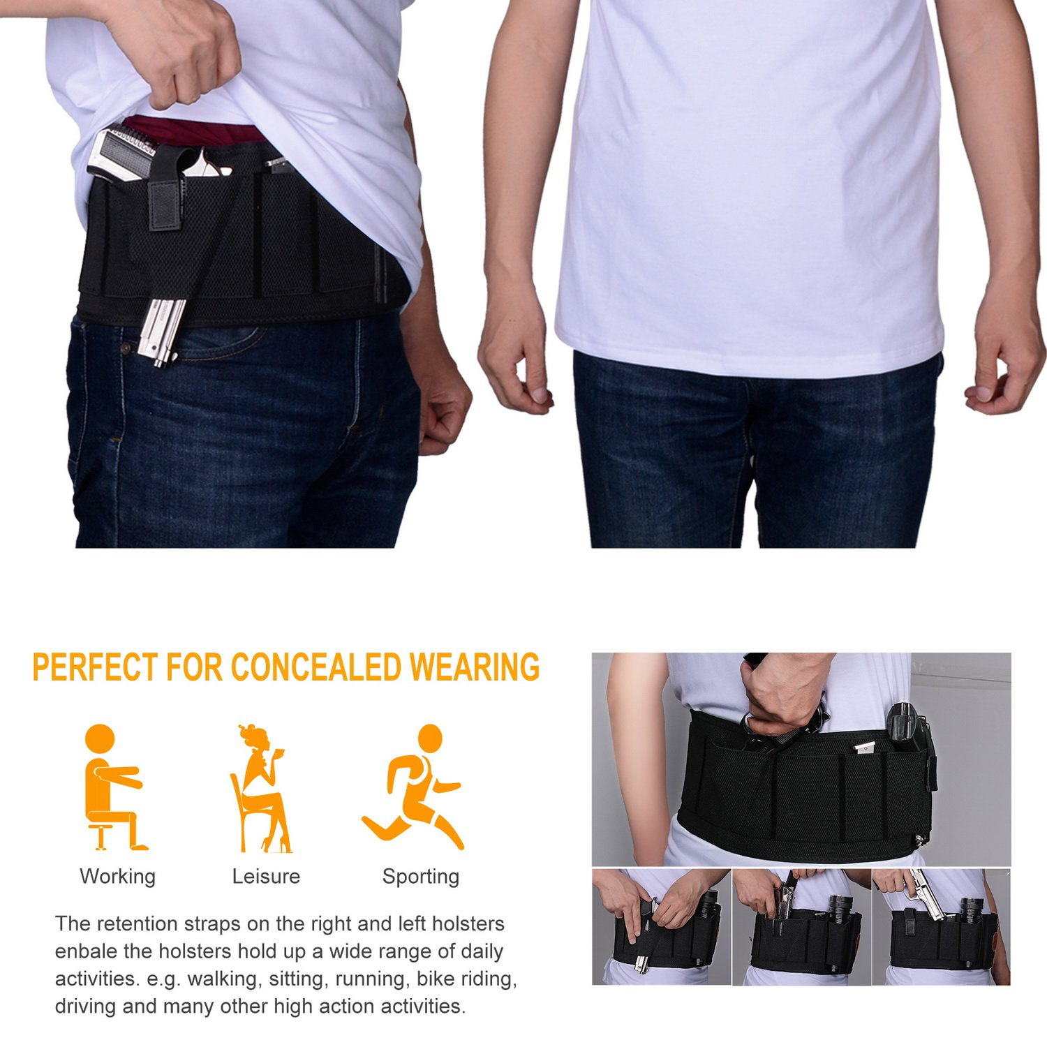 Fullmosa Concealed Carry Holster, Mi Belly Band Holster for Handgun, Elastic Hand Gun Holder Waist Holsters Pistols Revolvers IWB Holster with Mag Pouches, Back Draw -B-L