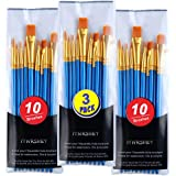 ITNRSIIET Paint Brushes, 3 Sets of 10 Pcs Round-Pointed Nylon Hair Paintbrushes for Acrylic Watercolor Oil Painting, Face Nai