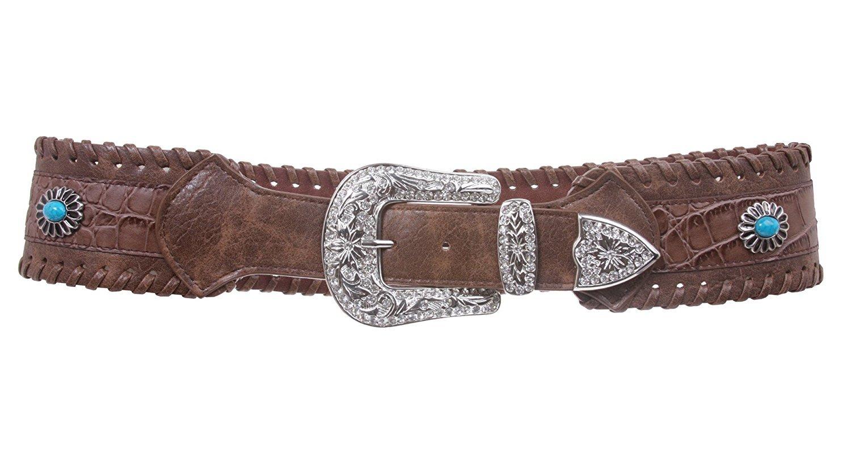 MONIQUE Women Contoured Laced Alligator Rhinestone Turguoise Leather 70mm Belt,Brown M/L - 38