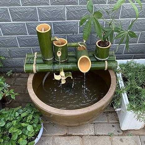 YXZQ Decoración de Fuente de bambú Fuente de bambú Característica de Agua Decoración de jardín Boquilla de Agua con Bomba Cascada Característica de jardín al Aire Libre Esculturas Estatuas, 70cm: Amazon.es: Deportes