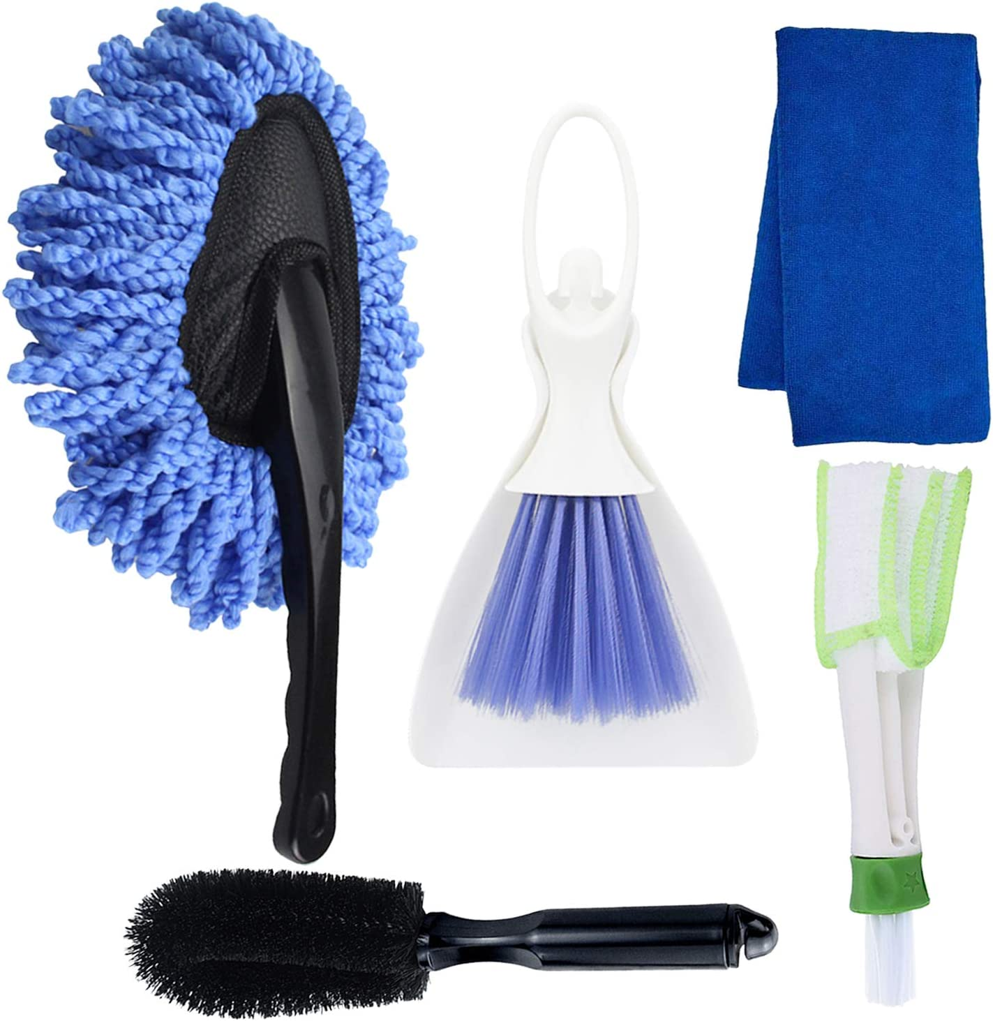 5 Pack Car Cleaning Tools Kit,Car Wash Tools Kit (with Car Wash Brush,Microfiber Cleaning Cloth,Mini Duster for Car Air Vent,Cleaning Brush Dusting Tool,Tire Brush)for Car Home Kitchen Cleaning