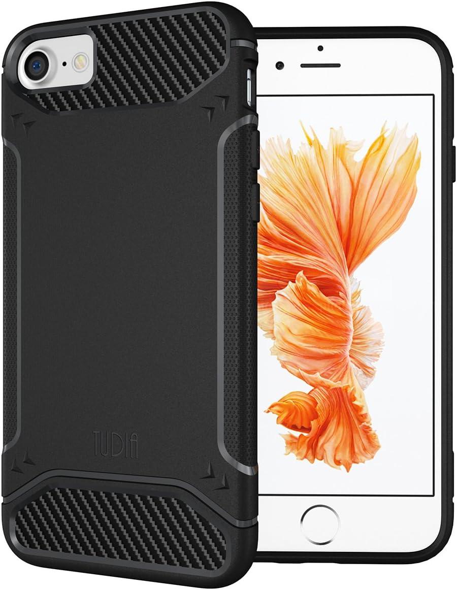iPhone 7 / iPhone 8 Case, TUDIA Carbon Fiber Design Lightweight [TAMM] TPU Bumper Shock Absorption Case for Apple iPhone 7 (2016) / iPhone 8 (2017) (Black)