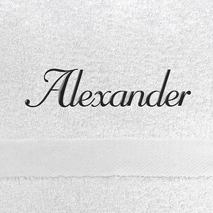 Toalla de baño con nombres Alexander bordados, 70 x 140 cm, color blanco,