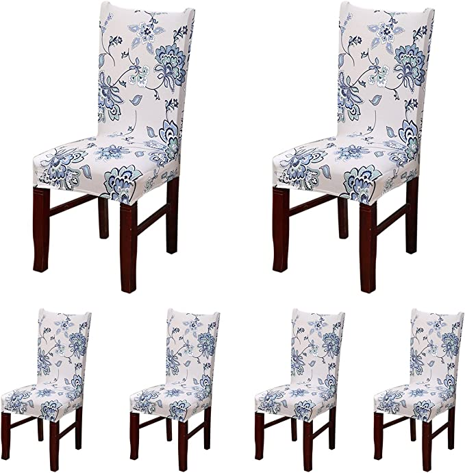 SHDIBA 6 x Stretch Short Dining Room Chair Protector Cover with Printed Pattern Seat Slipcover for Wedding Party, Banquet,Ceremony,Dining Room, Hotel (6, 06)