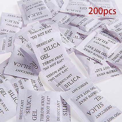 200pcs sacos de Gel de sílice desecante absorbe la humedad agente de secado multifunción bolsas