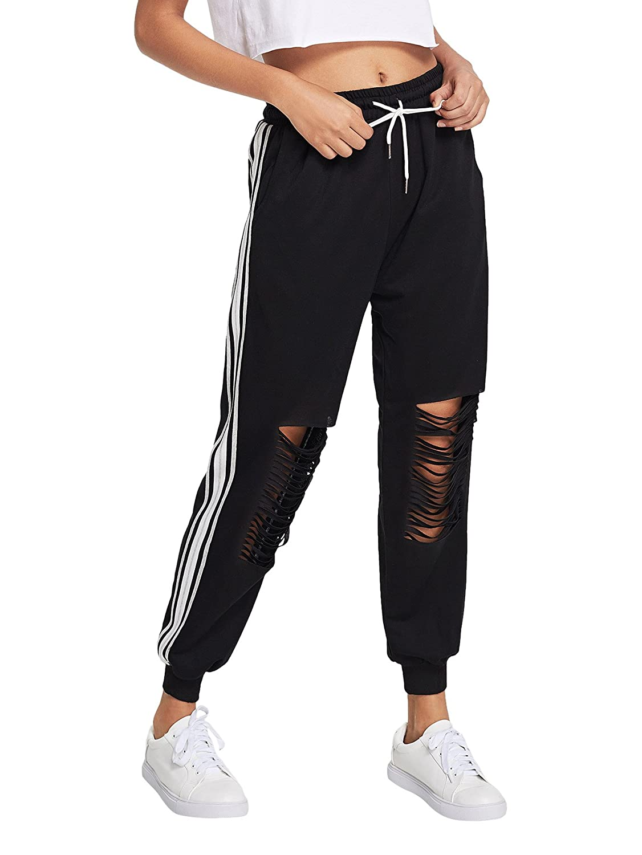 Black 3 SweatyRocks Women's Ripped Pants Drawstring Yoga Workout Sweatpants Heather