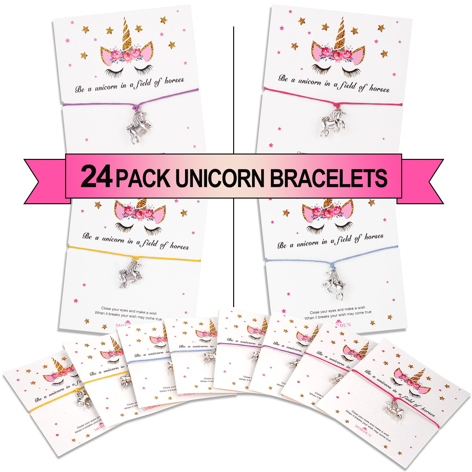 MORDUN 24 Unicorn Party Favors Set for Girls Birthday | Unicorn Charm Wish Bracelets | Gifts for Kids Teens Boys Baby Shower
